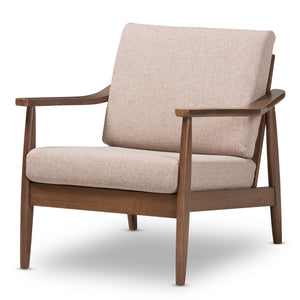 Baxton Studio Venza Walnut Wood Light Brown Lounge Chair - 1