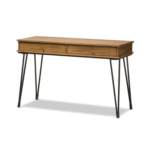 Baxton Studio Toma Metal & Wood 2-Drawer Storage Desk-Desks-HipBeds.com