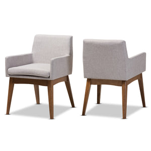 Baxton Studio Nexus Walnut Wood Greyish Beige Dining Armchair - Set of 2 - 1