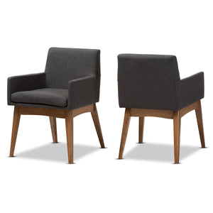 Baxton Studio Nexus Walnut Wood Grey Dining Armchair - Set of 2-Chairs-HipBeds.com