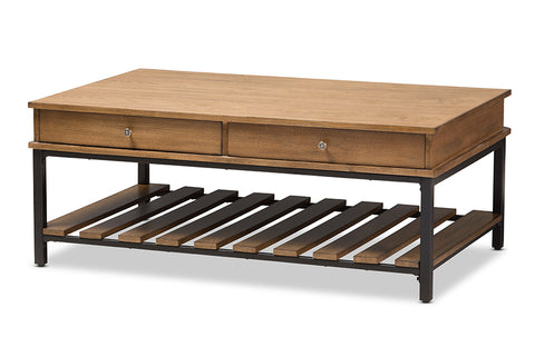 Baxton Studio Newcastle Rustic Industrial Style Oak Brown Finished Wood and Black Finished Metal Coffee Table-Coffee Tables-HipBeds.com