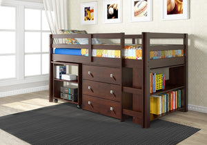 Donco Kids Low Study Loft Bed Dark Cappuccino 760-CP-Loft Beds-HipBeds.com
