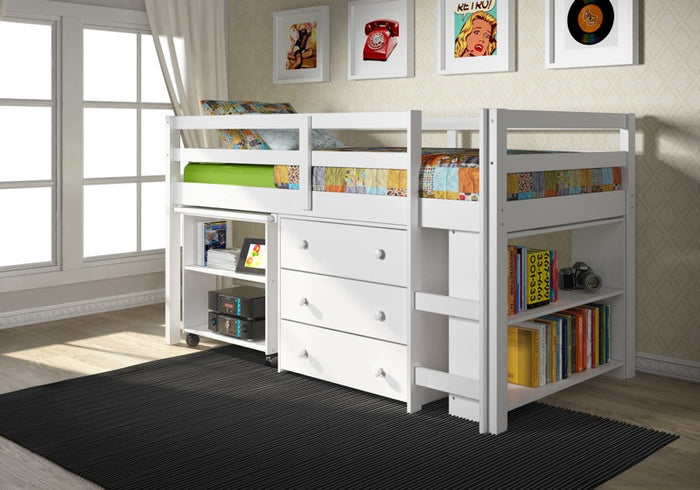 Donco Kids Low Study Loft Bed White 760-W