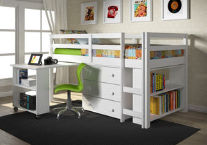 Donco Kids Low Study Loft Bed White 760-W-Loft Beds-HipBeds.com