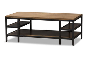 Baxton Studio Caribou Rustic Industrial Style Oak Brown Finished Wood and Black Finished Metal Coffee Table-Coffee Tables-HipBeds.com