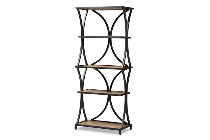 Baxton Studio Lancashire Rustic Industrial Style Oak Brown Finished Wood and Black Finished Metal Bookshelf