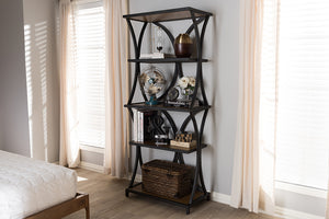 Baxton Studio Lancashire Rustic Industrial Style Oak Brown Finished Wood and Black Finished Metal Bookshelf-Bookcases-HipBeds.com