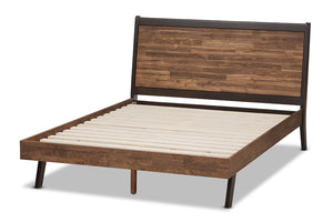 Baxton Studio Selena Mid-Century Modern Brown Wood Queen Size Platform Bed Image 5