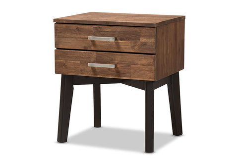 Baxton Studio Selena Mid-Century Modern Brown Wood 2-Drawer Nightstand Image 3