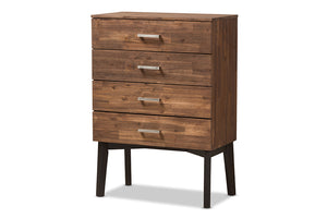 Baxton Studio Selena Mid-Century Modern Brown Wood 4-Drawer Chest Image 3