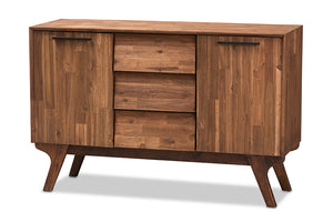 Baxton Studio Sierra Mid-Century Modern Brown Wood 3-Drawer Sideboard Image 3