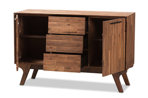 Baxton Studio Sierra Mid-Century Modern Brown Wood 3-Drawer Sideboard Image 4