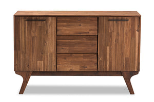 Baxton Studio Sierra Mid-Century Modern Brown Wood 3-Drawer Sideboard Image 5