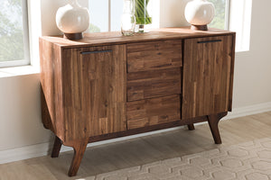 Baxton Studio Sierra Mid-Century Modern Brown Wood 3-Drawer Sideboard Image 9