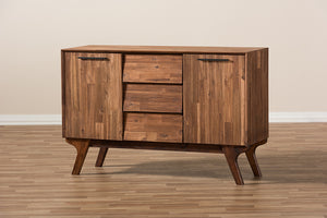 Baxton Studio Sierra Mid-Century Modern Brown Wood 3-Drawer Sideboard Image 10