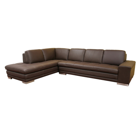 Baxton Studio Callidora Dark Brown Leather-Leather Match Sofa Sectional-Sofas-HipBeds.com