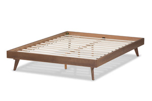 Baxton Studio Jacob Mid-Century Modern Walnut Brown Finished Solid Wood King Size Bed Frame Image 5