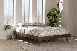 Baxton Studio Jacob Mid-Century Modern Walnut Brown Finished Solid Wood King Size Bed Frame Image 7