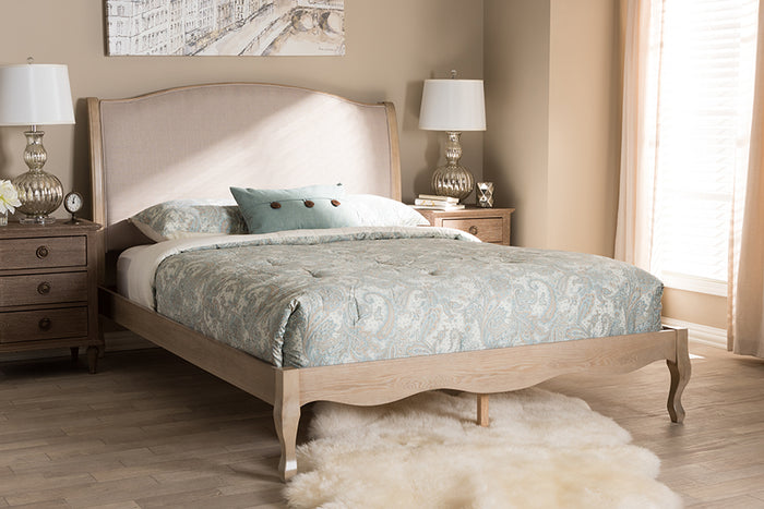 Baxton Studio Lorelei French Beige Fabric Upholstered Light Oak-Finished Queen Sized Platform Bed