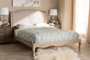 Baxton Studio Lorelei French Beige Fabric Upholstered Light Oak-Finished Queen Sized Platform Bed-Platform Beds-HipBeds.com