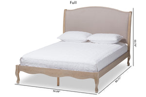 Baxton Studio Lorelei French Beige Fabric Upholstered Light Oak-Finished Full Sized Platform Bed-Platform Beds-HipBeds.com