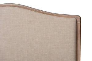 Baxton Studio Campagne French Beige Fabric Upholstered Light Oak-Finished Full Sized Platform Bed Image 8
