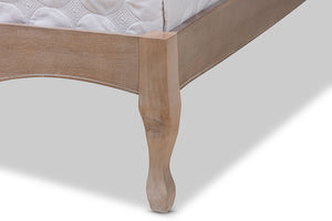 Baxton Studio Campagne French Beige Fabric Upholstered Light Oak-Finished Full Sized Platform Bed Image 9