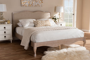 Baxton Studio Campagne French Beige Fabric Upholstered Light Oak-Finished Full Sized Platform Bed Image 3