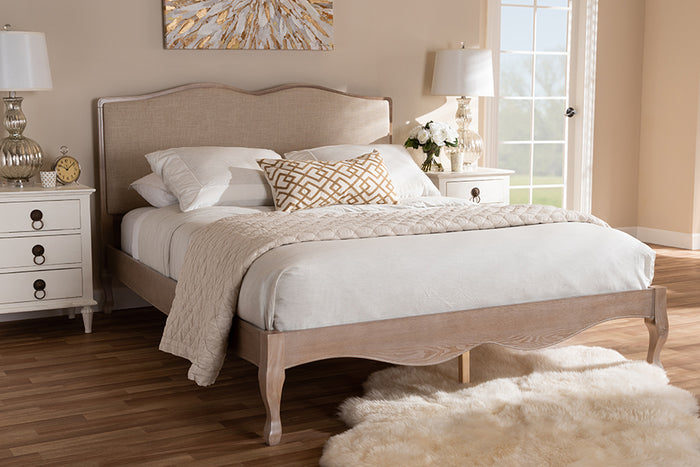 Baxton Studio Campagne French Beige Fabric Upholstered Light Oak-Finished Queen Sized Platform Bed