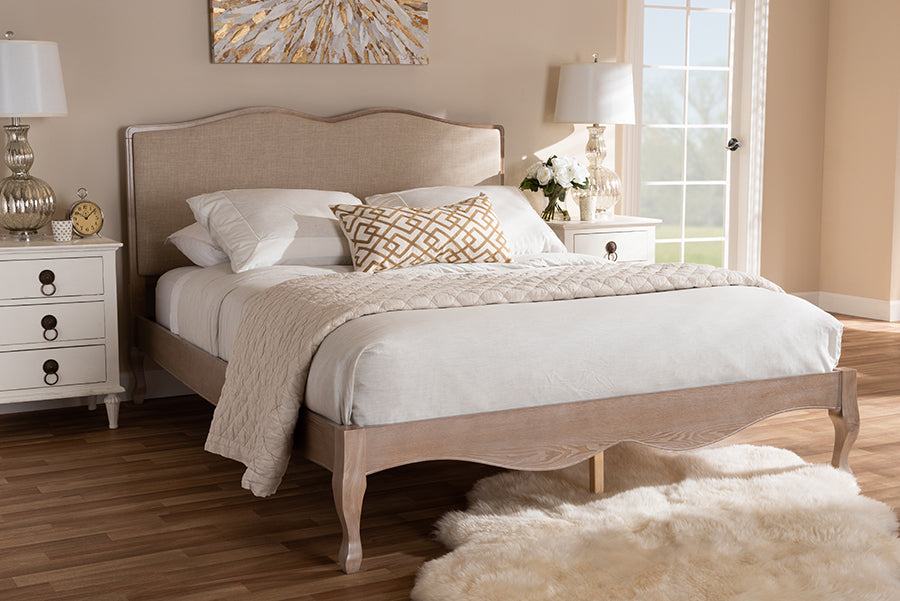 Phenomenal Baxton Studio Campagne French Beige Fabric Upholstered Light Oak Finished King Sized Platform Bed Andrewgaddart Wooden Chair Designs For Living Room Andrewgaddartcom