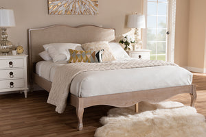 Baxton Studio Campagne French Beige Fabric Upholstered Light Oak-Finished Queen Sized Platform Bed Image 4
