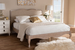 Baxton Studio Campagne French Beige Fabric Upholstered Light Oak-Finished Queen Sized Platform Bed Image 10