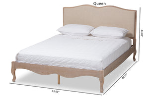 Baxton Studio Campagne French Beige Fabric Upholstered Light Oak-Finished Queen Sized Platform Bed Image 13