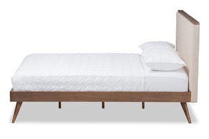 Baxton Studio Bella Mid-Century Modern Light Beige Fabric and Walnut Brown Finished Wood Queen Size Platform Bed Image 4