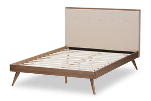 Baxton Studio Bella Mid-Century Modern Light Beige Fabric and Walnut Brown Finished Wood Queen Size Platform Bed Image 5