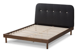 Baxton Studio Sadie Mid-Century Modern Dark Grey Fabric and Walnut Brown Finished Wood Full Size Platform Bed-Platform Beds-HipBeds.com