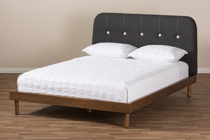 Baxton Studio Sadie Mid-Century Modern Dark Grey Fabric and Walnut Brown Finished Wood King Size Platform Bed Image 11