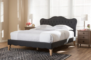 Baxton Studio Alicia French Modern Classic Dark Grey Fabric King Size Platform Bed Image 10