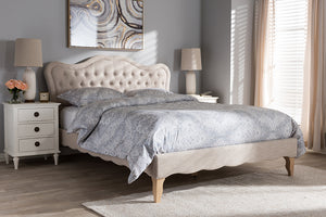Baxton Studio Alicia French Modern Classic Beige Fabric Full Size Platform Bed-Platform Beds-HipBeds.com