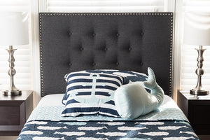 Baxton Studio Windsor Modern and Contemporary Dark Grey Fabric Twin Size Headboard-Headboards & Footboards-HipBeds.com
