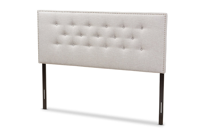 Baxton Studio Windsor Modern and Contemporary Greyish Beige Fabric Upholstered Queen Size Headboard