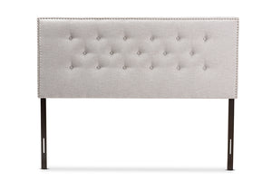 Baxton Studio Windsor Modern and Contemporary Greyish Beige Fabric Upholstered Queen Size Headboard-Headboards & Footboards-HipBeds.com