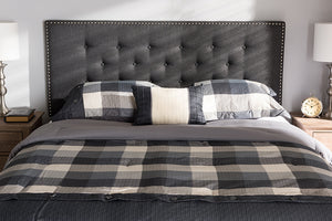 Baxton Studio Windsor Modern and Contemporary Dark Grey Fabric Queen Size Headboard-Headboards & Footboards-HipBeds.com