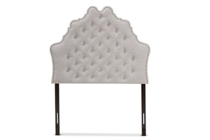 Baxton Studio Hilda Modern and Contemporary Greyish Beige Fabric Twin Size Headboard-Headboards & Footboards-HipBeds.com