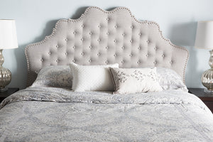 Baxton Studio Hilda Modern and Contemporary Greyish Beige Fabric Queen Size Headboard-Headboards & Footboards-HipBeds.com