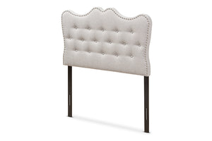 Baxton Studio Emma Modern and Contemporary Greyish Beige Fabric Twin Size Headboard-Headboards & Footboards-HipBeds.com