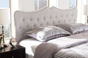 Baxton Studio Emma Modern and Contemporary Greyish Beige Fabric Queen Size Headboard-Headboards & Footboards-HipBeds.com