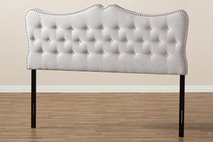 Baxton Studio Emma Modern and Contemporary Greyish Beige Fabric Full Size Headboard-Headboards & Footboards-HipBeds.com