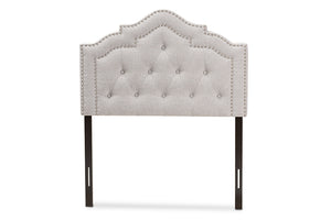 Baxton Studio Edith Modern and Contemporary Greyish Beige Fabric Twin Size Headboard-Headboards & Footboards-HipBeds.com