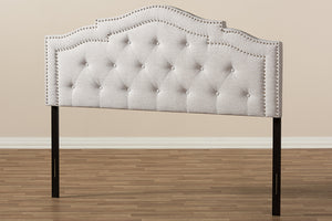 Baxton Studio Edith Modern and Contemporary Greyish Beige Fabric Queen Size Headboard-Headboards & Footboards-HipBeds.com